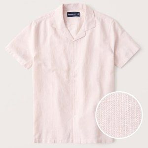 Abercrombie Linen Camp Collar Button-Up Shirt Pink